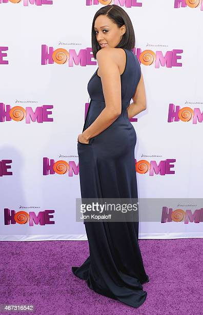 Actress Tia MowryHardrict arrives at the Los Angeles Premiere 'HOME' at Regency Village Theatre on March 22 2015 in Westwood California