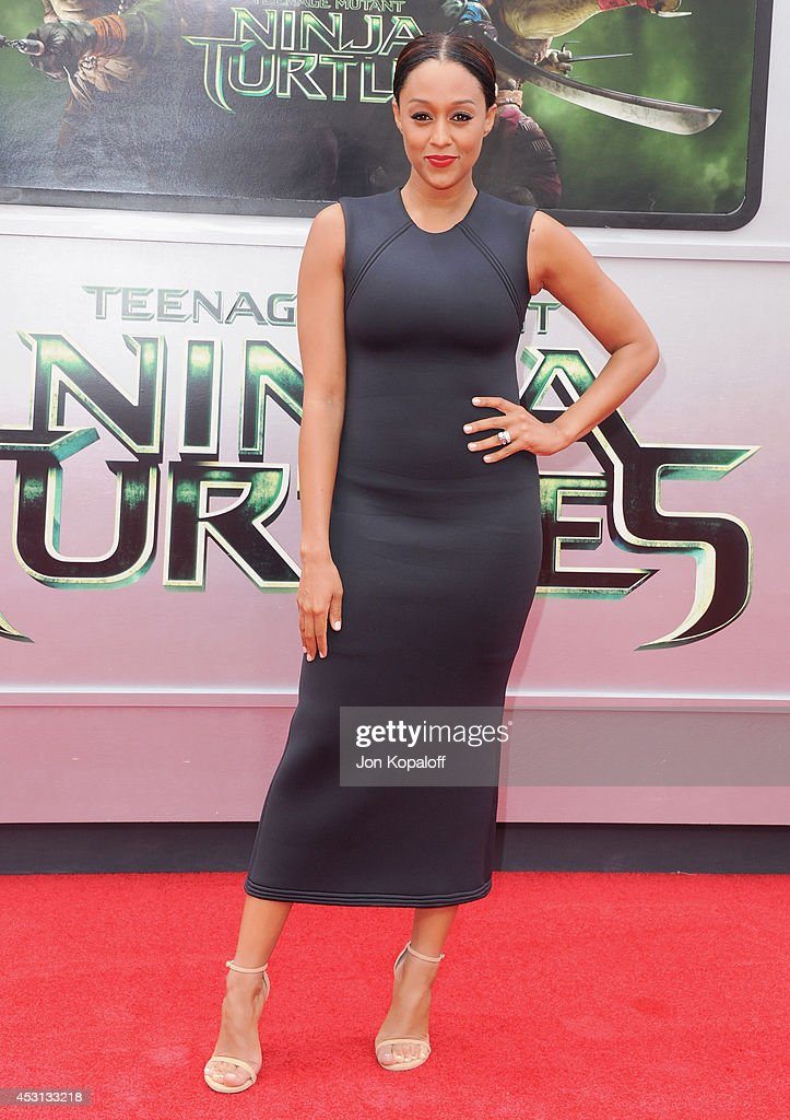 Actress Tia Mowry-Hardrict arrives at the Los Angeles Premiere 'Teenage Mutant Ninja Turtles' at Regency Village Theatre on August 3, 2014 in Westwood, California.