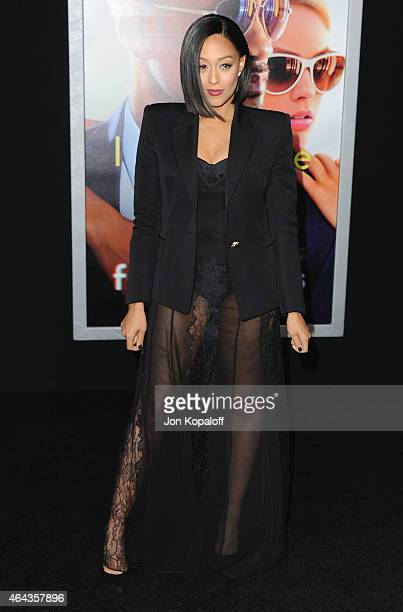 Actress Tia MowryHardrict arrives at the Los Angeles World Premiere Of Warner Bros Pictures 'Focus' at TCL Chinese Theatre on February 24 2015 in...