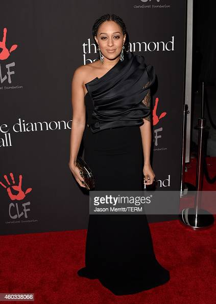 Actress Tia MowryHardrict attends Rihanna's First Annual Diamond Ball at The Vineyard on December 11 2014 in Beverly Hills California
