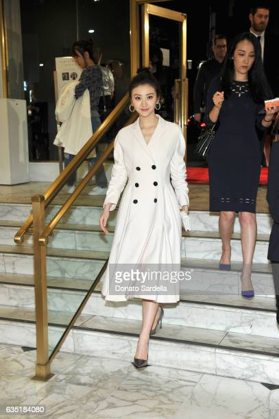 Actress Tian Jing wearing Dior attends Saks Fifth Avenue presentation of The Great Wall at Saks Fifth Avenue Beverly Hills on February 13 2017 in...