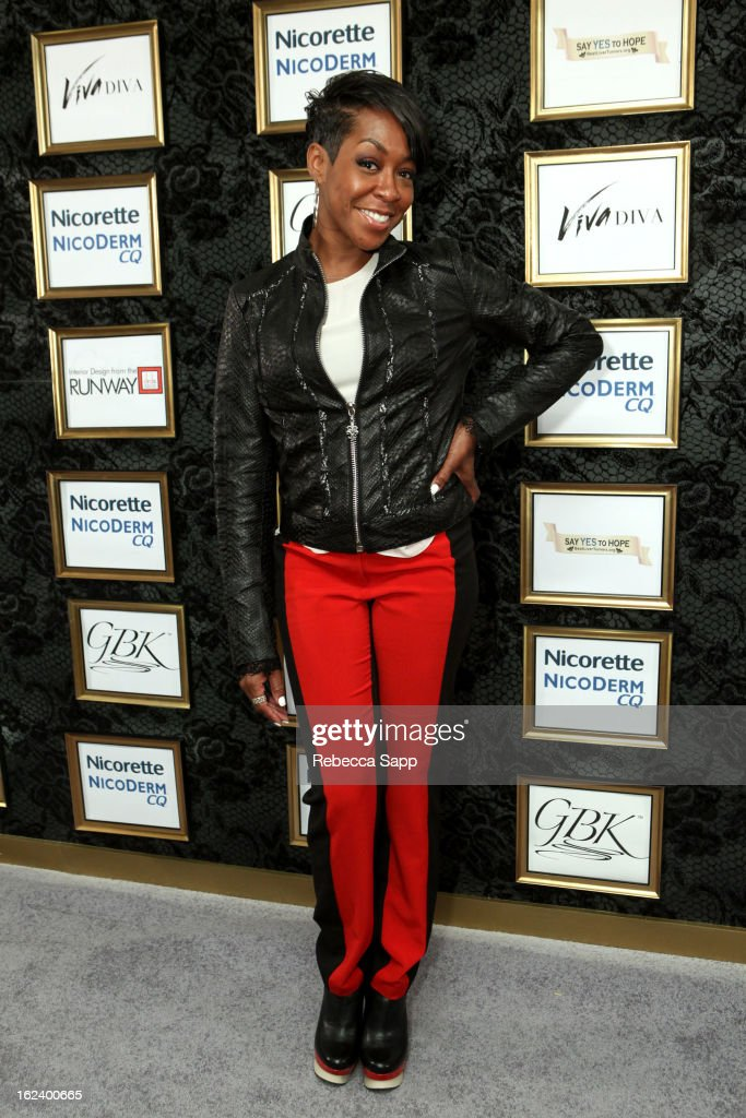 Actress <a gi-track='captionPersonalityLinkClicked' href=/galleries/search?phrase=Tichina+Arnold&family=editorial&specificpeople=593825 ng-click='$event.stopPropagation()'>Tichina Arnold</a> at GBK's Oscars Gift Lounge 2013 - Day 1 at Sofitel Hotel on February 22, 2013 in Los Angeles, California.