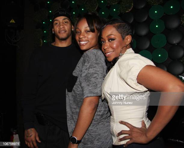 Actress Tichina Arnold Juanika Arnold and NBA Player Monta Ellis attend the Atrium after party at Greenhouse on November 9 2010 in New York City