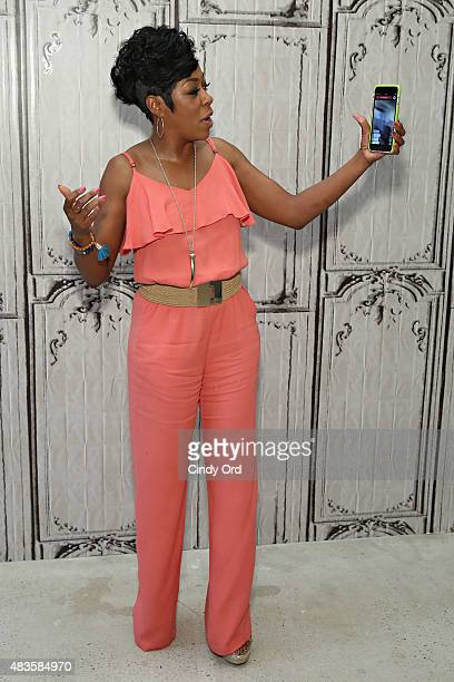 Actress Tichina Arnold live streams on Periscope during her visit to AOL Build at AOL Studios on August 10 2015 in New York City