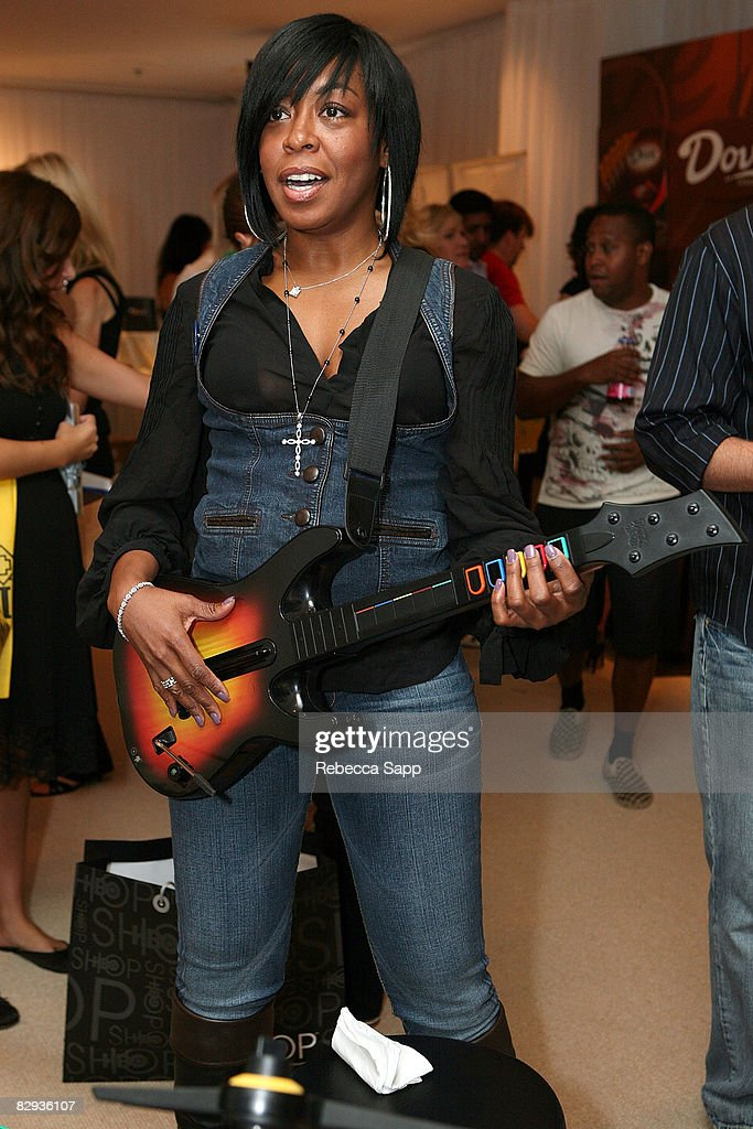 Actress Tichina Arnold poses with the Activision / RedOctane display during the HBO Luxury Lounge in honor of the 60th annual Primetime Emmy Awards featuring the In Style diamond suite, held at the Four Seasons Hotel on September 21, 2008 in Beverly Hills, California.