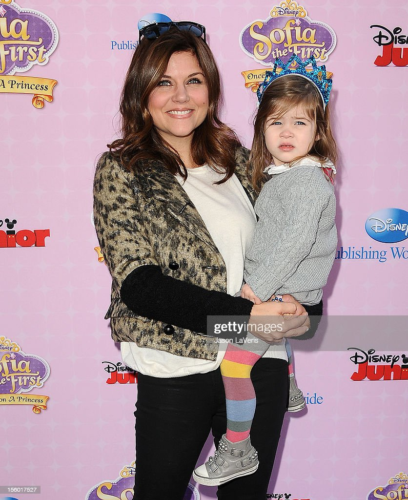 Actress Tiffani Thiessen and daughter Harper Renn Smith attend the premiere of 'Sofia The First: Once Upon a Princess' at Walt Disney Studios on November 10, 2012 in Burbank, California.