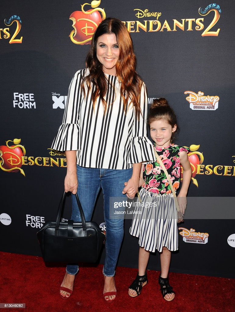 Actress Tiffani Thiessen and daughter Harper Renn Smith attend the premiere of 'Descendants 2' at The Cinerama Dome on July 11, 2017 in Los Angeles, California.