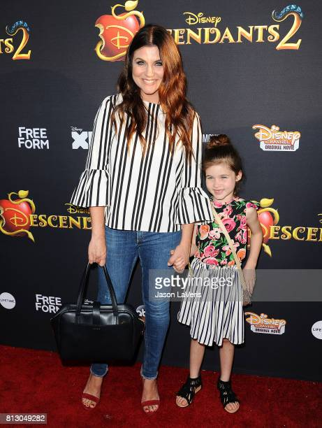 Actress Tiffani Thiessen and daughter Harper Renn Smith attend the premiere of 'Descendants 2' at The Cinerama Dome on July 11 2017 in Los Angeles...