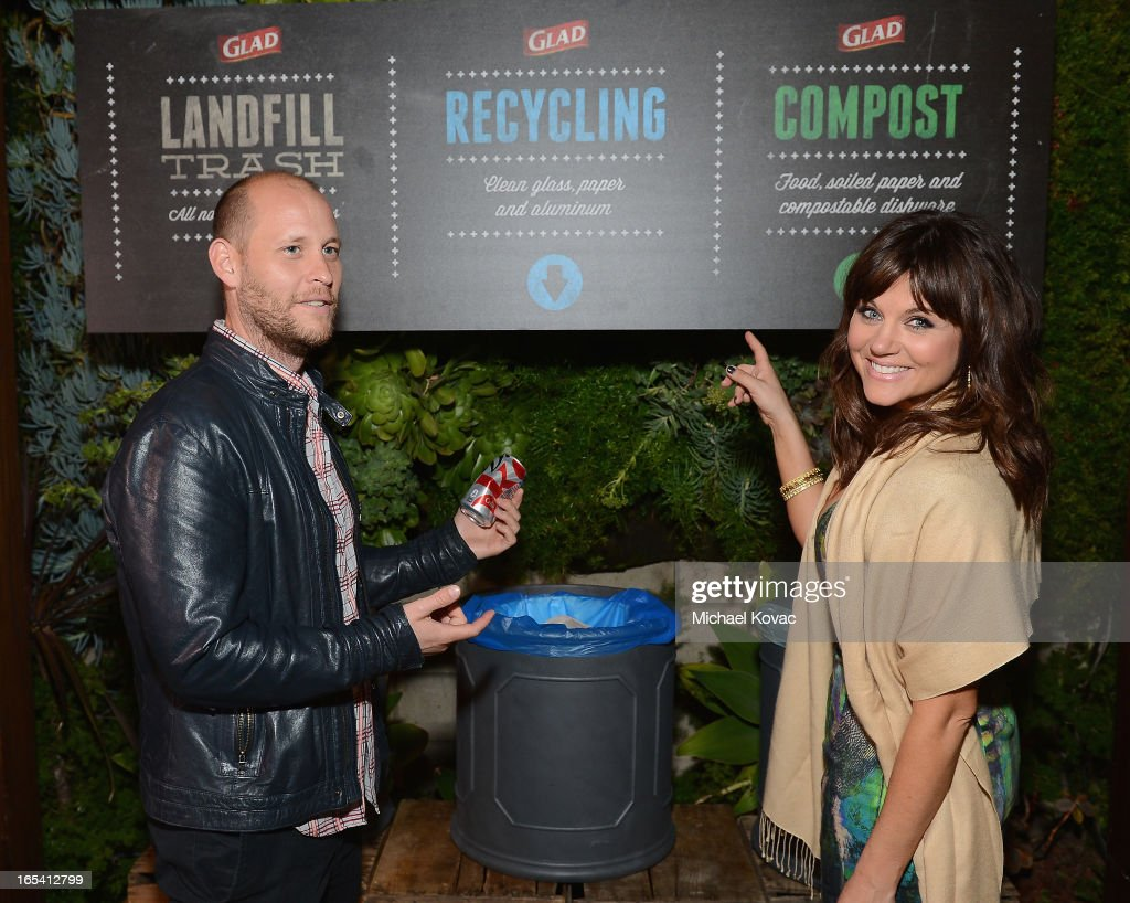 Actress Tiffani Thiessen invites her guests to use the recycling station at her One Bag Party, sponsored by Glad Trash, where just one bag of trash went to landfill waste and the rest was recycled or composted at The Smog Shoppe on April 3, 2013 in Los Angeles, California.