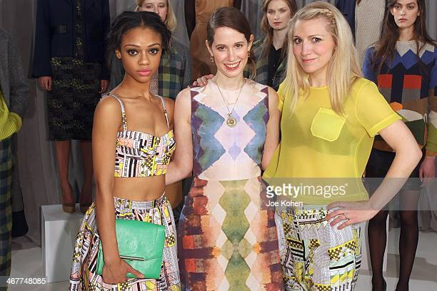 Actress Tiffany Boone designer Jordana Warmflash and actress Annaleigh Ashford attends Novis Presentation durin MercedesBenz Fashion Week Fall 2014...