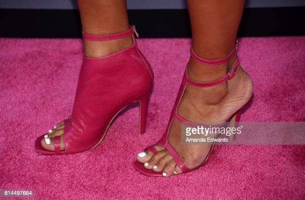 Actress Tiffany Smith shoe detail arrives at the premiere of Universal Pictures' 'Girls Trip' at the Regal LA Live Stadium 14 on July 13 2017 in Los...