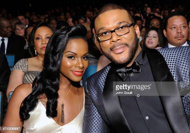 Actress Tika Sumpter and director Tyler Perry attend the 45th NAACP Image Awards presented by TV One at Pasadena Civic Auditorium on February 22 2014...