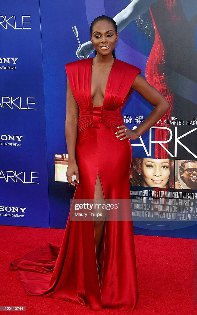Actress Tika Sumpter arrives at the Los Angeles Premiere of 'Sparkle' at Grauman's Chinese Theatre on August 16, 2012 in Hollywood, California.