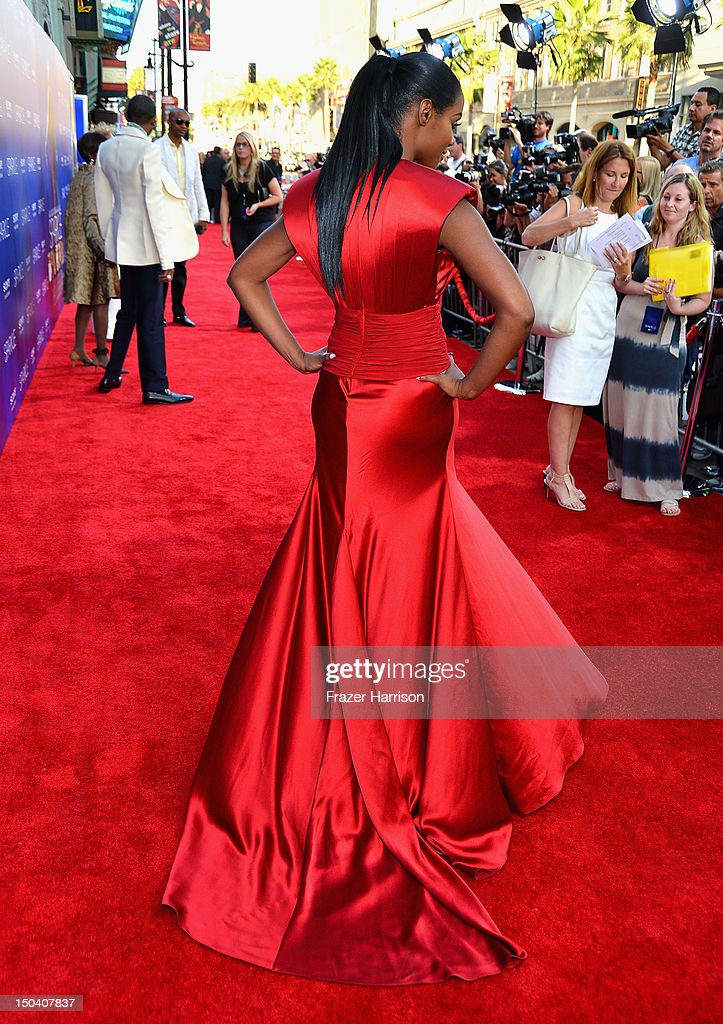 Actress Tika Sumpter arrives at Tri-Star Pictures' 'Sparkle' premiere at Grauman's Chinese Theatre on August 16, 2012 in Hollywood, California.