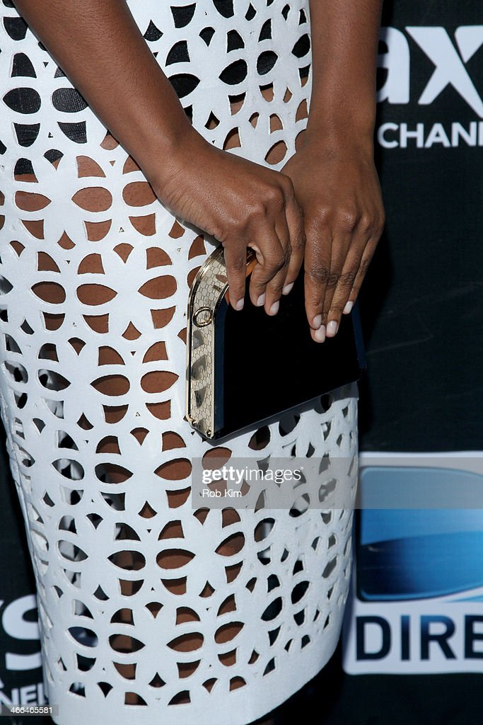 Actress Tika Sumpter (fashion detail) attends the DirecTV Super Saturday Night at Pier 40 on February 1, 2014 in New York City.