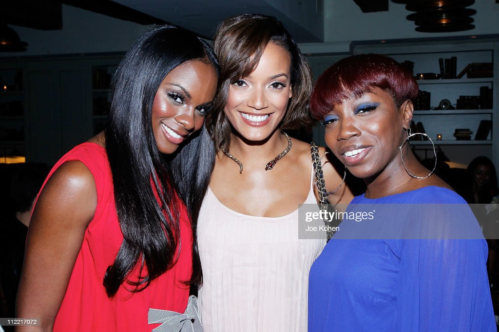 Actress Tika Sumpter model Selita Ebanks and singer Estelle attend Hennessy Privilege #Intime New York Dinner hosted by Mehcad Brooks at Soho House...