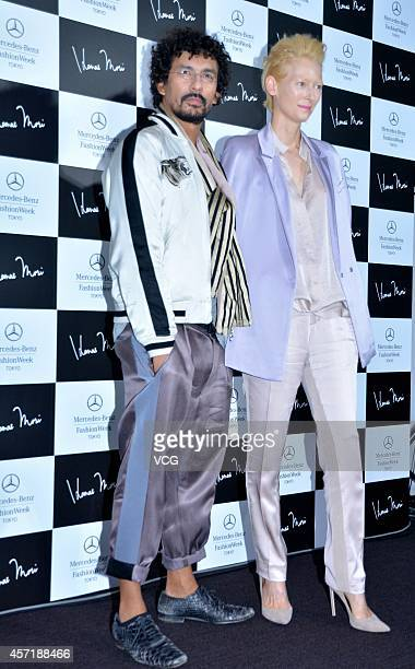 Actress Tilda Swinton and designer Haider Ackermann attend the presscall during the HANAE MORI designed by Yu Amatsu show as part of Mercedes Benz...