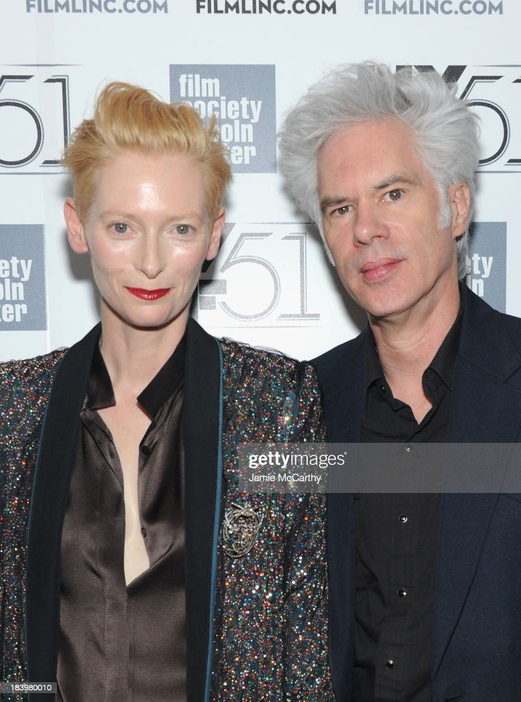 Actress <a gi-track='captionPersonalityLinkClicked' href=/galleries/search?phrase=Tilda+Swinton&family=editorial&specificpeople=202991 ng-click='$event.stopPropagation()'>Tilda Swinton</a> and director <a gi-track='captionPersonalityLinkClicked' href=/galleries/search?phrase=Jim+Jarmusch&family=editorial&specificpeople=208784 ng-click='$event.stopPropagation()'>Jim Jarmusch</a> attend the 'Only Lovers Left Alive' screening during the 51st New York Film Festival at Alice Tully Hall at Lincoln Center on October 10, 2013 in New York City.