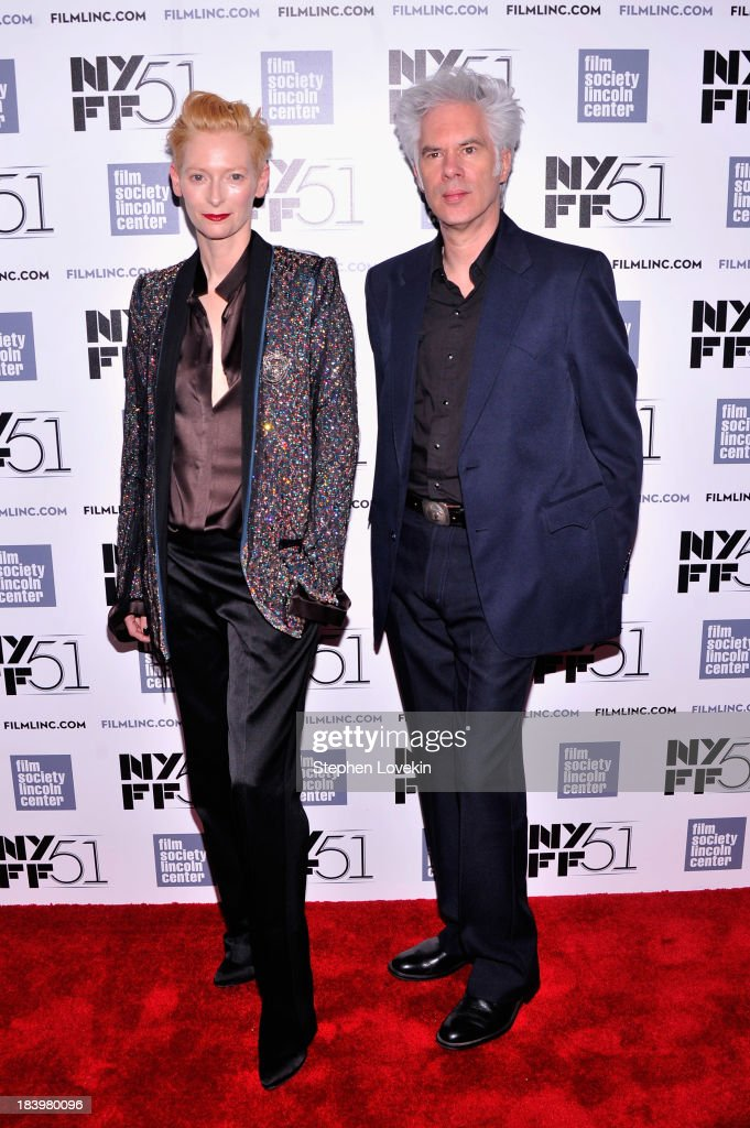 Actress <a gi-track='captionPersonalityLinkClicked' href=/galleries/search?phrase=Tilda+Swinton&family=editorial&specificpeople=202991 ng-click='$event.stopPropagation()'>Tilda Swinton</a> and director <a gi-track='captionPersonalityLinkClicked' href=/galleries/search?phrase=Jim+Jarmusch&family=editorial&specificpeople=208784 ng-click='$event.stopPropagation()'>Jim Jarmusch</a> attend the 'Only Lovers Left Alive' during the 51st New York Film Festival at Alice Tully Hall at Lincoln Center on October 10, 2013 in New York City.