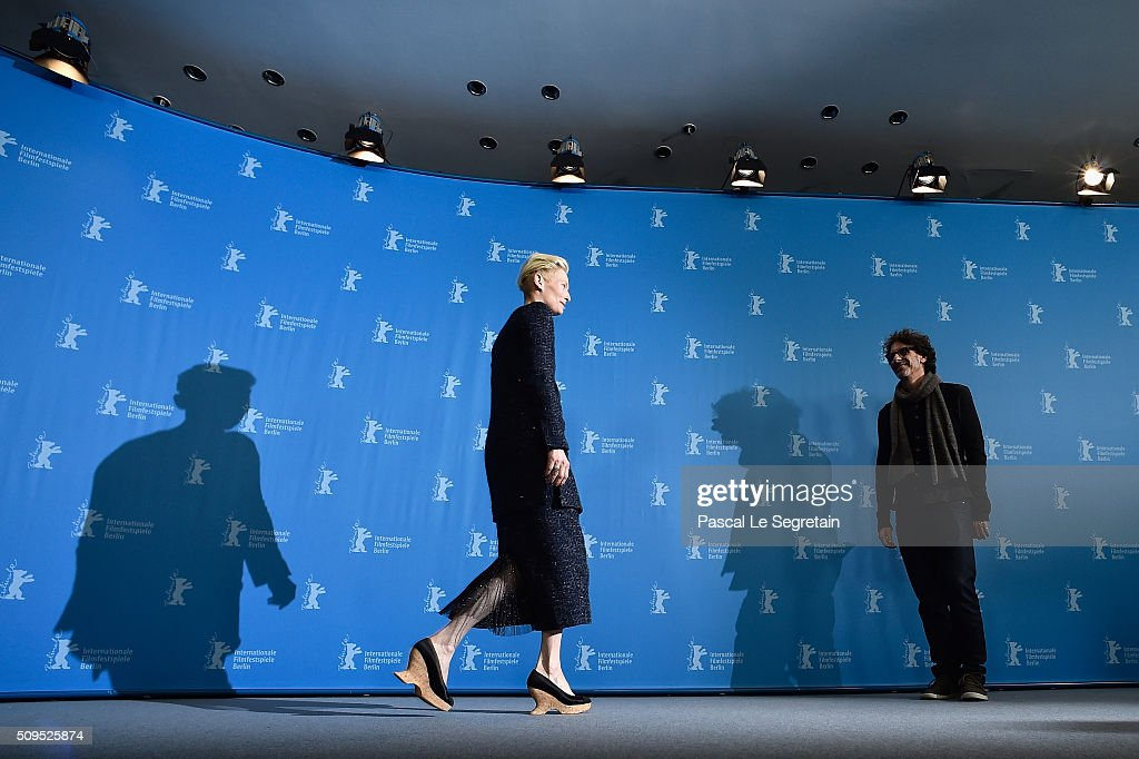 Actress Tilda Swinton (L) and director Joel Coen attend the 'Hail, Caesar!' photo call during the 66th Berlinale International Film Festival Berlin at Grand Hyatt Hotel on February 11, 2016 in Berlin, Germany.