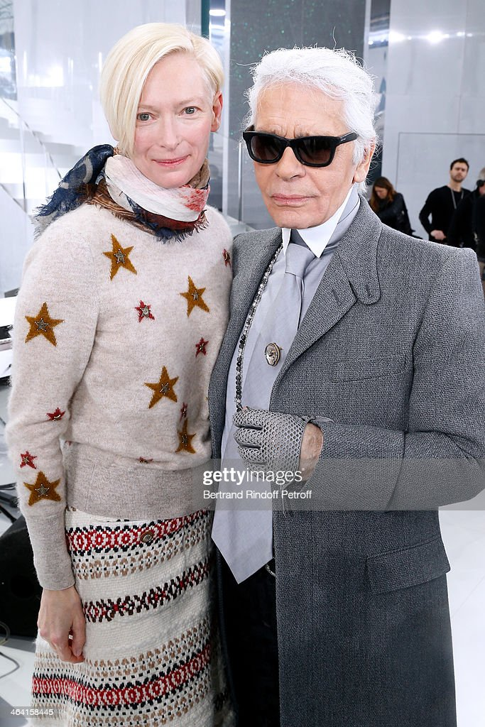 Actress <a gi-track='captionPersonalityLinkClicked' href=/galleries/search?phrase=Tilda+Swinton&family=editorial&specificpeople=202991 ng-click='$event.stopPropagation()'>Tilda Swinton</a> and Fashion designer <a gi-track='captionPersonalityLinkClicked' href=/galleries/search?phrase=Karl+Lagerfeld+-+Fashion+Designer&family=editorial&specificpeople=4330565 ng-click='$event.stopPropagation()'>Karl Lagerfeld</a> pose backstage after the Chanel show as part of Paris Fashion Week Haute Couture Spring/Summer 2014 on January 21, 2014 in Paris, France.
