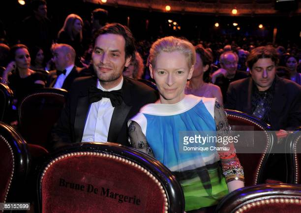 Actress Tilda Swinton and husband attend the show at the Cesar Film Awards held at the Chatelet Theater on February 27 2009 in Paris