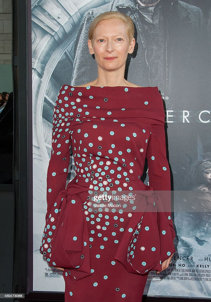 Actress Tilda Swinton arrives at the 2014 Los Angeles Film Festival - Opening Night Premiere Of 'Snowpiercer' at Regal Cinemas L.A. Live on June 11, 2014 in Los Angeles, California.