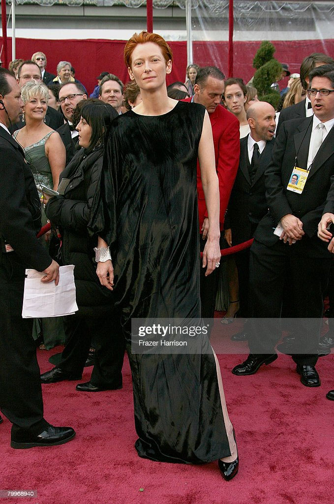 Actress Tilda Swinton arrives at the 80th Annual Academy Awards held at the Kodak Theatre on February 24 2008 in Hollywood California
