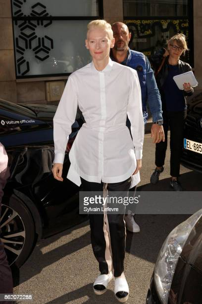 Actress Tilda Swinton arrives for 'Welcome to Tilda Swinton' master class during 9th Film Festival Lumiere on October 16 2017 in Lyon France