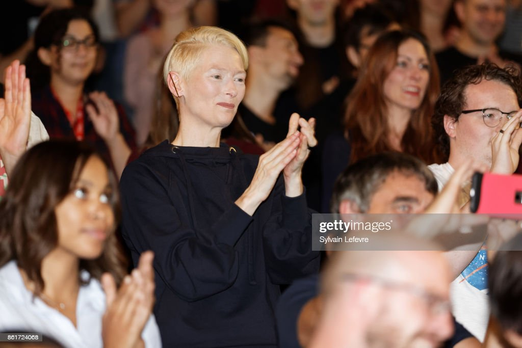 Actress Tilda Swinton attends premiere of 'The Shape of Water' at Lumiere Brothers Institut during day 2 of 9th Film Festival Lumiere on October 15, 2017 in Lyon, France.