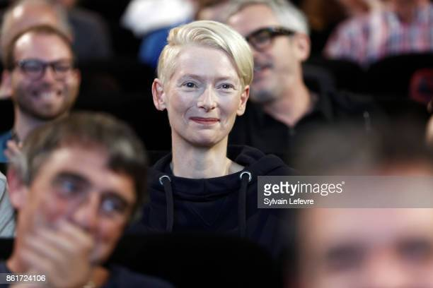 Actress Tilda Swinton attends premiere of 'The Shape of Water' at Lumiere Brothers Institut during day 2 of 9th Film Festival Lumiere on October 15...