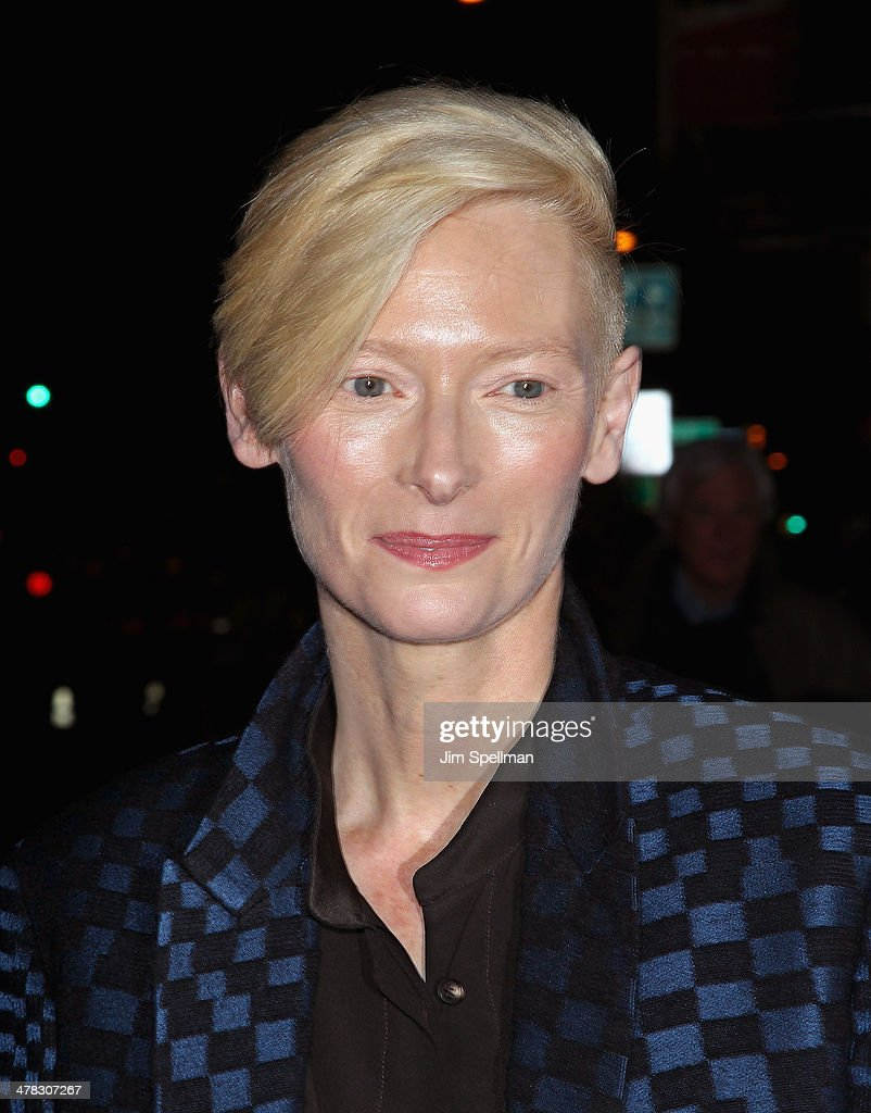 Actress Tilda Swinton attends Sony Pictures Classics' 'Only Lovers Left Alive' screening hosted by The Cinema Society and Stefano Tonchi, Editor in Chief of W Magazine at Landmark's Sunshine Cinema on March 12, 2014 in New York City.