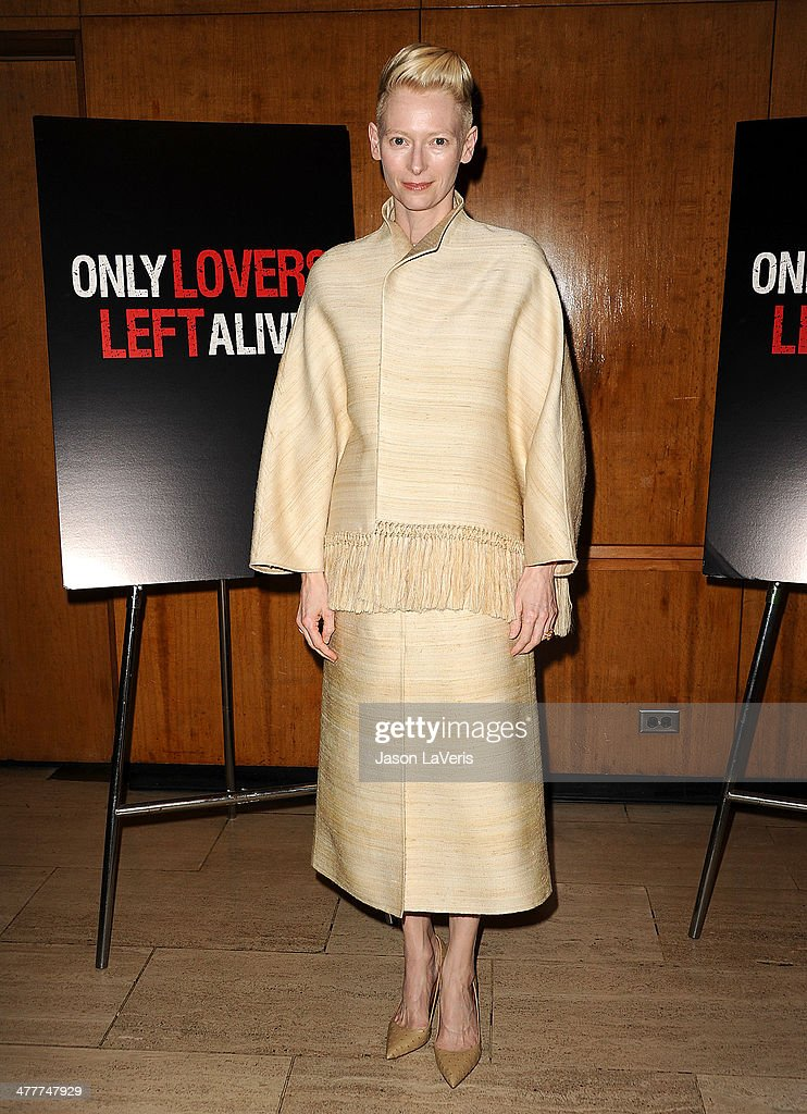 Actress <a gi-track='captionPersonalityLinkClicked' href=/galleries/search?phrase=Tilda+Swinton&family=editorial&specificpeople=202991 ng-click='$event.stopPropagation()'>Tilda Swinton</a> attends the Academy of Motion Picture Arts & Sciences screening of 'Only Lovers Left Alive' at Bing Theatre At LACMA on March 10, 2014 in Los Angeles, California.