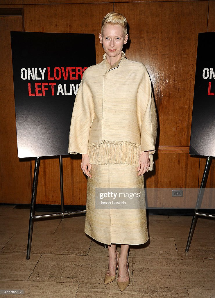 Actress Tilda Swinton attends the Academy of Motion Picture Arts & Sciences screening of 'Only Lovers Left Alive' at Bing Theatre At LACMA on March 10, 2014 in Los Angeles, California.