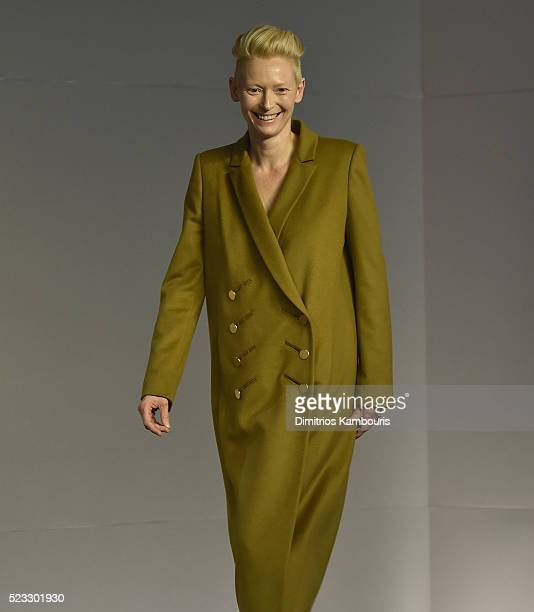 Actress Tilda Swinton attends the Apple Store Soho Presents Meet The Filmmaker Tilda Swinton And Luca Guadagnino 'A Bigger Splash' at Apple Store...