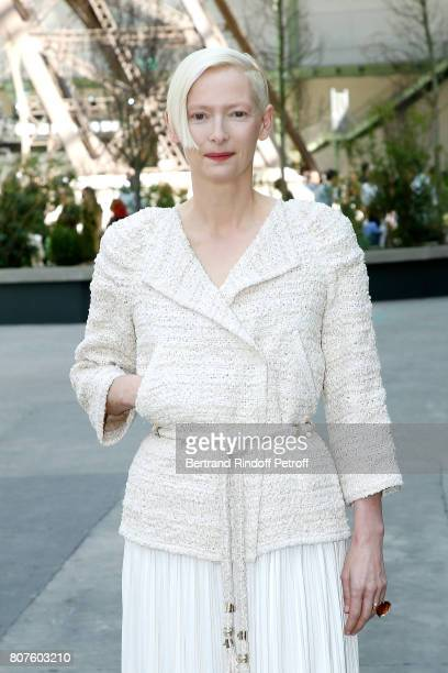 Actress Tilda Swinton attends the Chanel Haute Couture Fall/Winter 20172018 show as part of Haute Couture Paris Fashion Week on July 4 2017 in Paris...