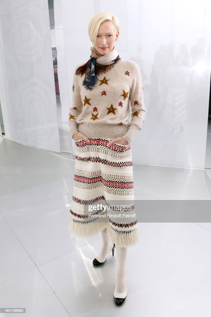 Actress Tilda Swinton attends the Chanel show as part of Paris Fashion Week Haute Couture Spring/Summer 2014 on January 21 2014 in Paris France
