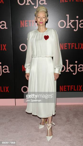 Actress Tilda Swinton attends the New York premiere of 'Okja' hosted by Netflix at AMC Lincoln Square Theater on June 8 2017 in New York City