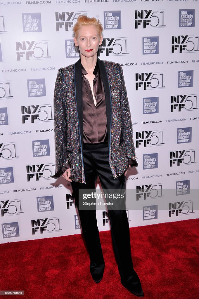 Actress <a gi-track='captionPersonalityLinkClicked' href=/galleries/search?phrase=Tilda+Swinton&family=editorial&specificpeople=202991 ng-click='$event.stopPropagation()'>Tilda Swinton</a> attends the 'Only Lovers Left Alive' during the 51st New York Film Festival at Alice Tully Hall at Lincoln Center on October 10, 2013 in New York City.
