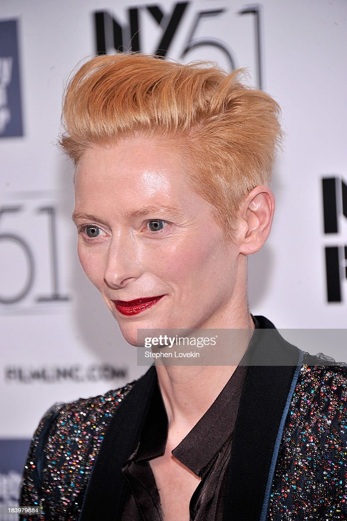 Actress Tilda Swinton attends the 'Only Lovers Left Alive' during the 51st New York Film Festival at Alice Tully Hall at Lincoln Center on October 10, 2013 in New York City.