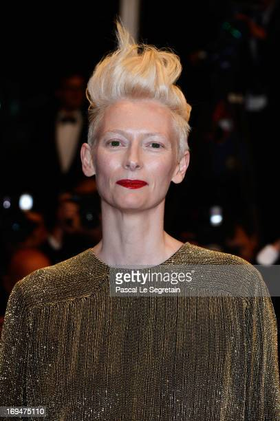 Actress Tilda Swinton attends the 'Only Lovers Left Alive' premiere during The 66th Annual Cannes Film Festival at the Palais des Festivals on May 25...