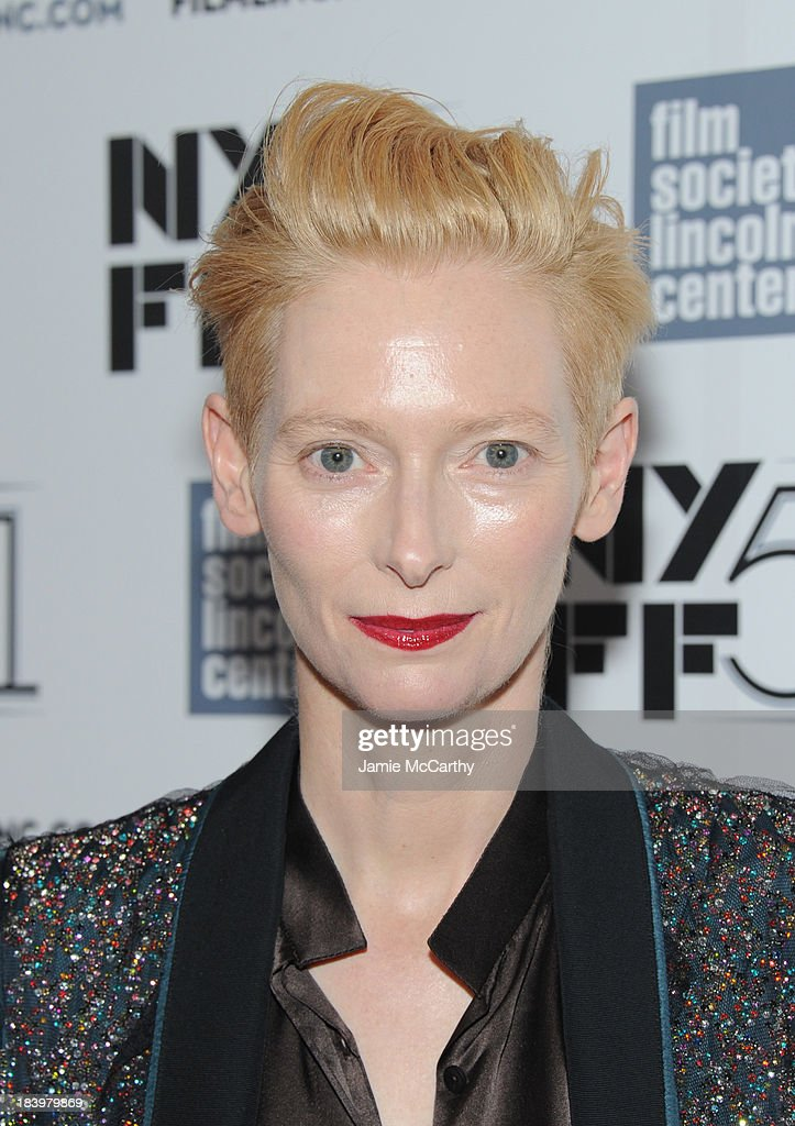 Actress Tilda Swinton attends the 'Only Lovers Left Alive' screening during the 51st New York Film Festival at Alice Tully Hall at Lincoln Center on October 10, 2013 in New York City.