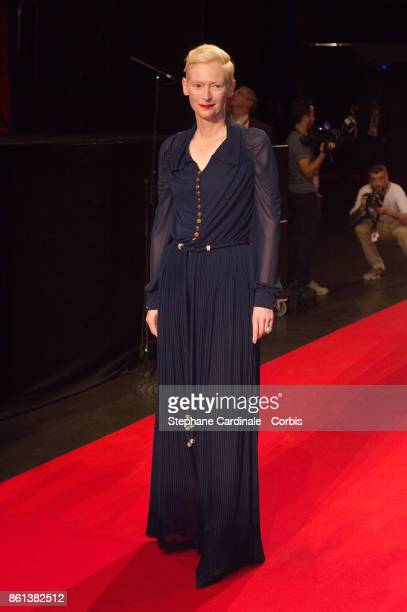 Actress Tilda Swinton attends the Opening Ceremony of the 9th Film Festival Lumiere on October 14 2017 in Lyon France