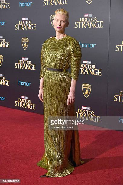 Actress Tilda Swinton attends the Premiere of Disney and Marvel Studios' 'Doctor Strange' on October 20 2016 in Hollywood California
