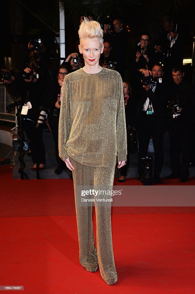 Actress <a gi-track='captionPersonalityLinkClicked' href=/galleries/search?phrase=Tilda+Swinton&family=editorial&specificpeople=202991 ng-click='$event.stopPropagation()'>Tilda Swinton</a> attends the Premiere of 'Only Lovers Left Alive' during the 66th Annual Cannes Film Festival at the Palais des Festivals on May 25, 2013 in Cannes, France.