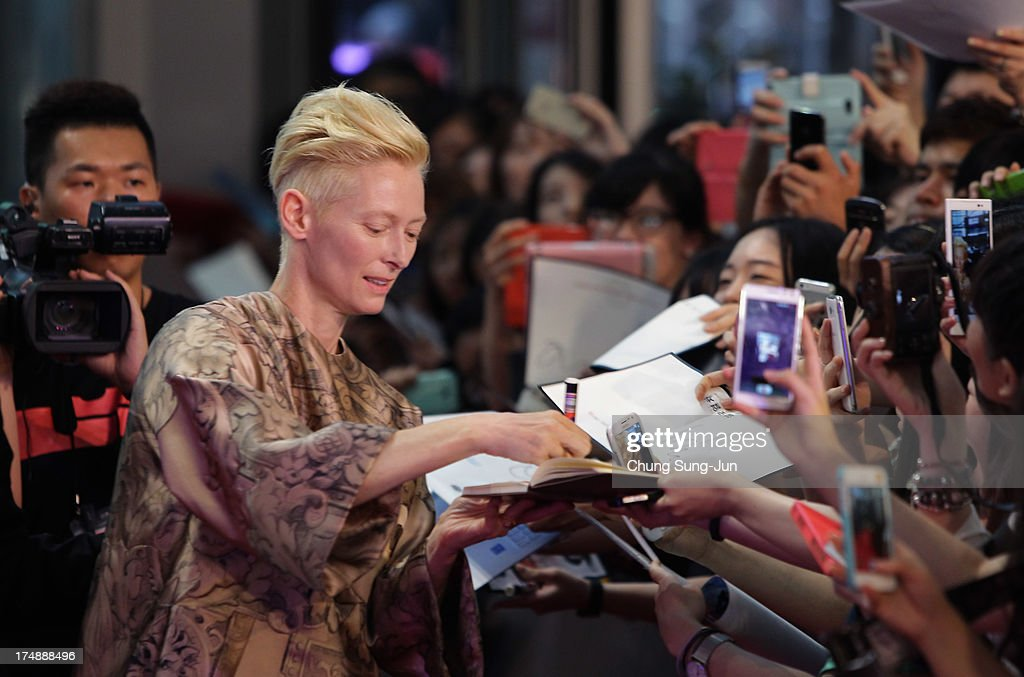 Actress Tilda Swinton attends the 'Snowpiercer' South Korea premiere at Times Square on July 29, 2013 in Seoul, South Korea. The film will open in South Korea on August 1.