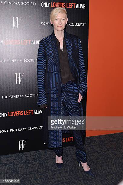 Actress Tilda Swinton attends the Sony Pictures Classics' 'Only Lovers Left Alive' screening hosted by The Cinema Society and Stefano Tonchi...