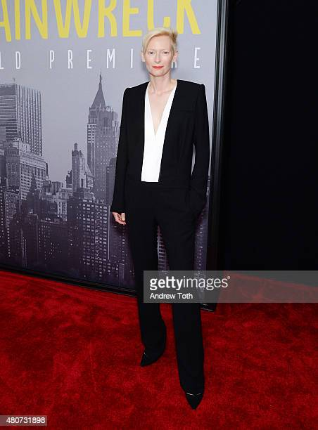 Actress Tilda Swinton attends the 'Trainwreck' premiere at Alice Tully Hall on July 14 2015 in New York City