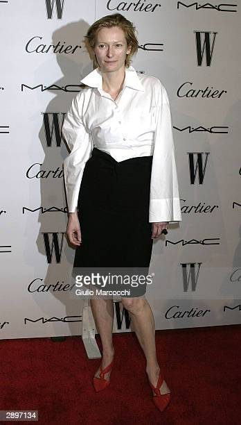 Actress Tilda Swinton attends The W Magazine's Golden Globe Glamour Party on January 23 2004 in Los Angeles California