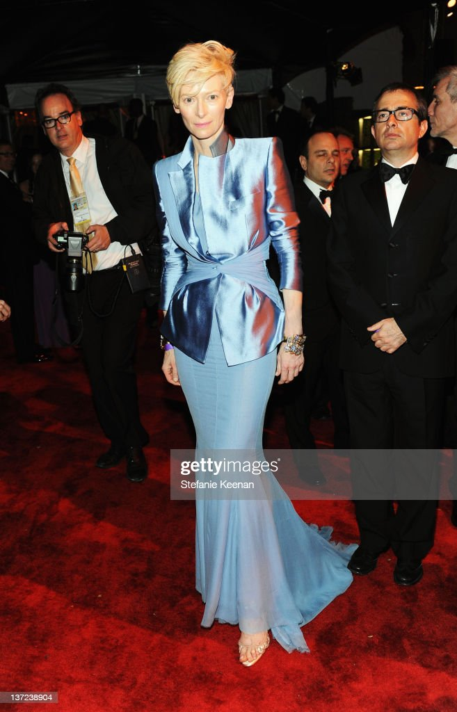 Actress <a gi-track='captionPersonalityLinkClicked' href=/galleries/search?phrase=Tilda+Swinton&family=editorial&specificpeople=202991 ng-click='$event.stopPropagation()'>Tilda Swinton</a> attends The Weinstein Company Celebration of the 2012 Golden Globes presented by Chopard held at The Beverly Hilton hotel on January 15, 2012 in Beverly Hills, California.